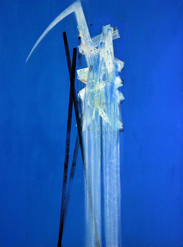 Oiseau sur ciel bleu huile sur toile, 200 x 150 cm